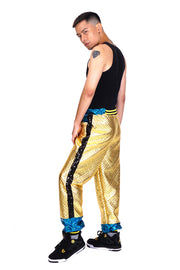 Only 2 Left! Size (S) - Bling Gold Quilt - Jazzy Joggers - Tracksuit Bottoms