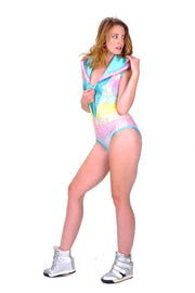 Candy Rainbow Leopard - Hooded Leotard