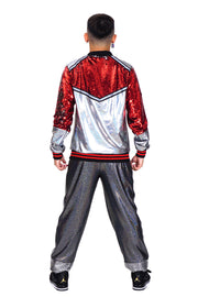 Disco Inferno - Silver & Red - Bomber Jacket