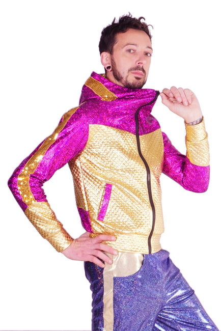 Magenta Magic Pink & Gold - Retro Space Jacket - Unisex