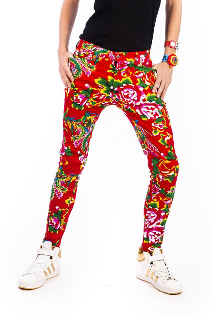 Red Tropical Flower Print - Skinny Jeans
