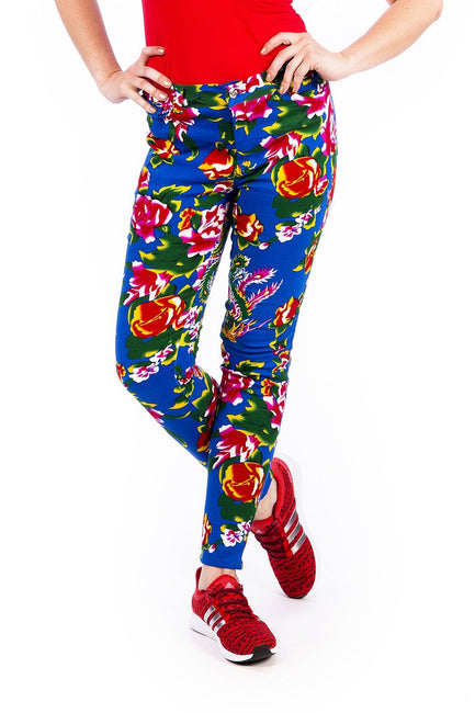 Blue Tropical Flower Print - Skinny Jeans