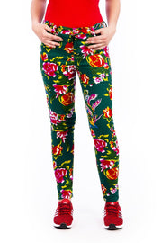 Green Tropical Flower Print - Skinny Jeans