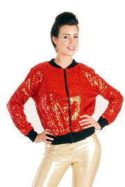 Inferno Red - Sequin Bomber