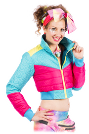 Pink & Turquoise Cropped - Puffer Jacket