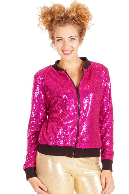 Hot Pink - Sequin Bomber
