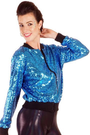 Turquoise Blue - Sequin Bomber