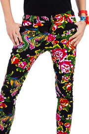 Black Tropical Flower Print - Skinny Jeans