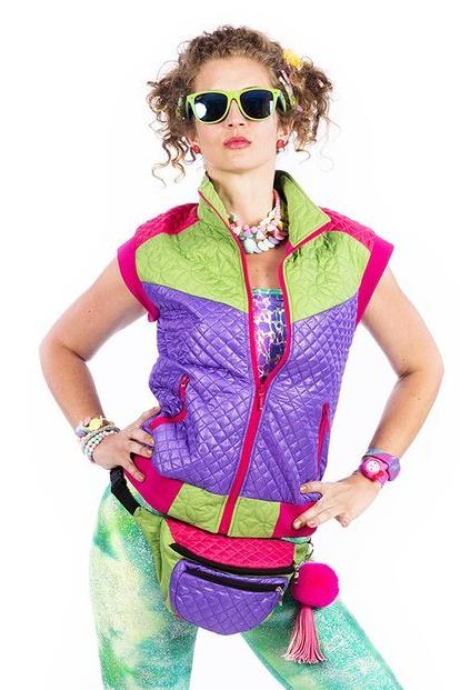 Purple & Green - Puffer Gilet - Full length Body Warmer