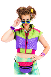 Purple & Green - Puffer Gilet - Cropped Body warmer