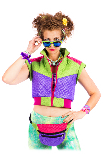 Purple & Green Cropped - Puffer Gillet