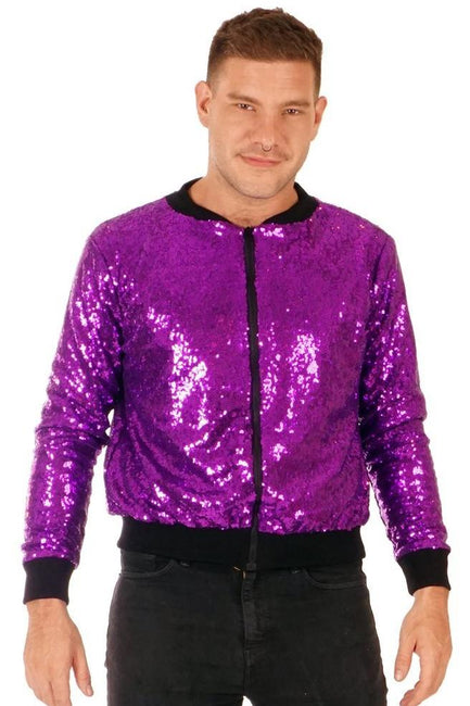 LAST ONE! Size (XL) - Purple Rain - Sequin Bomber