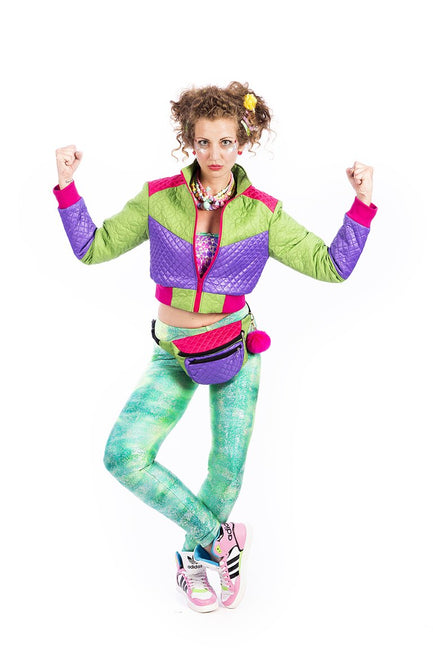 Purple & Green Cropped - Puffer Jacket