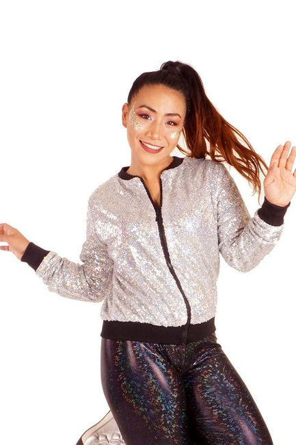 Silver Holographic - Sequin Bomber