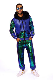 Emerald green sequin  tracksuit with an oversized hood and faux fur trim.  Sequin Sweatsuit - mens, womans, unisex. Festival Fashion