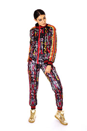 Womans 'Star Girl' Printed velvet tracksuit in rainbow and gold. Womans velvet sweatsuit, tracksuit, colourful two-piece loungewear suit.
