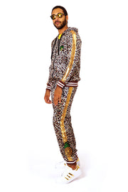 Gold Leopard Print Loungewear Two-piece suit. Velvet Animal print tracksuit.  Sparkly designer sweatsuit for men and women