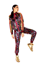 Womans 'Star Girl' Printed velvet tracksuit in rainbow and gold. Womans velvet sweatsuit, tracksuit, colourful two-piece loungewear suit. State of Disarray