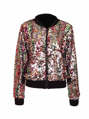 Pastel coloured rainbow and silver, womans sequin bomber jacket. Cropped cut with reversible sequins.