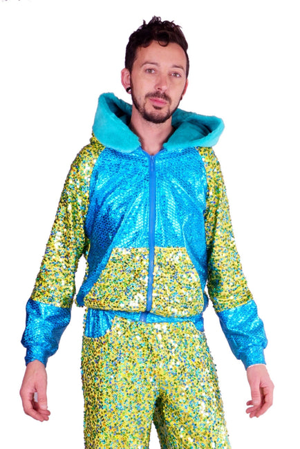 Woman Sparkly Turquoise sequin Hoodie. Mens Green Sequin Jacket