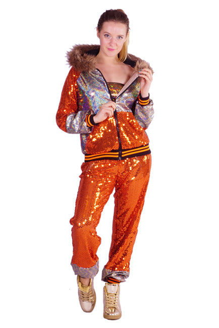 LAST ONE - Size (S) - Burned Orange & Silver - Sequin Tracksuit - Unisex