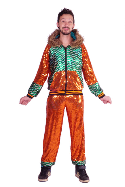 Burned Orange & Emerald Green - Sequin Tracksuit - Unisex