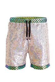 Silver iridecent sequin shorts with green fish scale print.  Mens sequin resort shorts.  Unisex Shorts