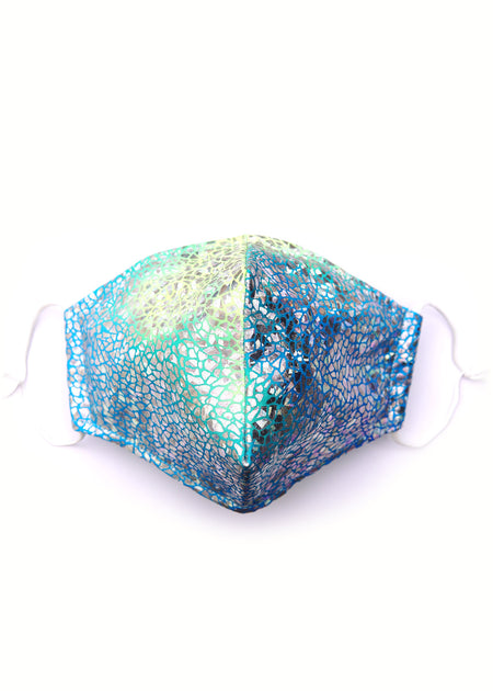 Smashed Sparkles Aqua Blue and green sparkly Adult Face Mask Face Covering State of Disarray  (2)