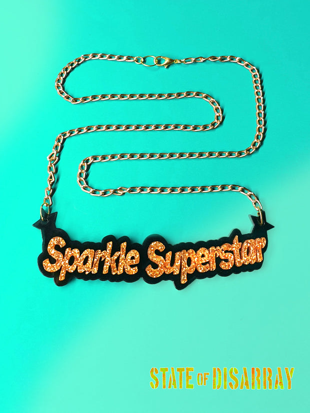 ASparkle Superstar - Statement Acrylic Necklace - State of Disarray
