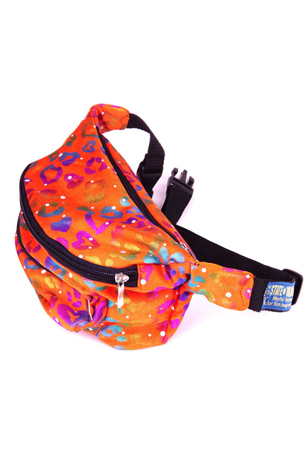 Orange Rainbow Leopard  State of Disarray Metallic colourful Bumbag Fanny Pack Party Utility Bag