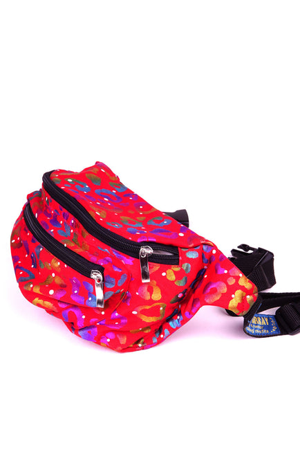 Red Rainbow Leopard  State of Disarray Metallic colourful Bumbag Fanny Pack Party Utility Bag