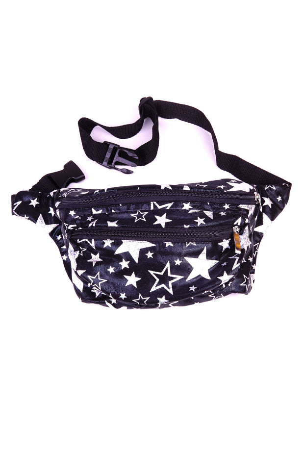 Black with silver stars  State of Disarray Metallic colourful Bumbag Fanny Pack Party Utility Bag