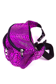 Magenta Snakeskin  State of Disarray Metallic colourful Bumbag Fanny Pack Party Utility Bag