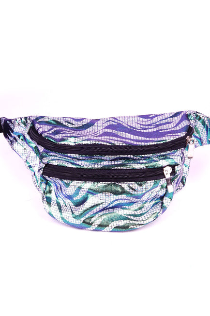Silver pixels & green squiggles  State of Disarray Metallic colourful Bumbag Fanny Pack Party Utility Bag