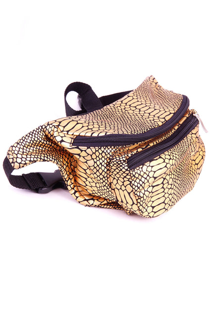 Gold Snakeskin State of Disarray Metallic colourful Bumbag Fanny Pack Party Utility Bag