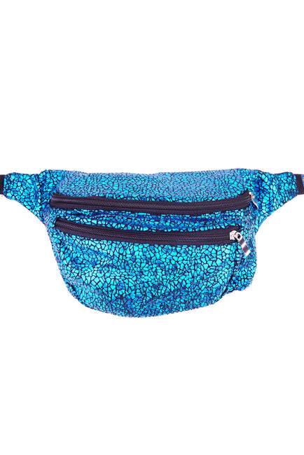 Turqouise Crackle effect.  State of Disarray Metallic colourful Bumbag Fanny Pack Party Utility Bag
