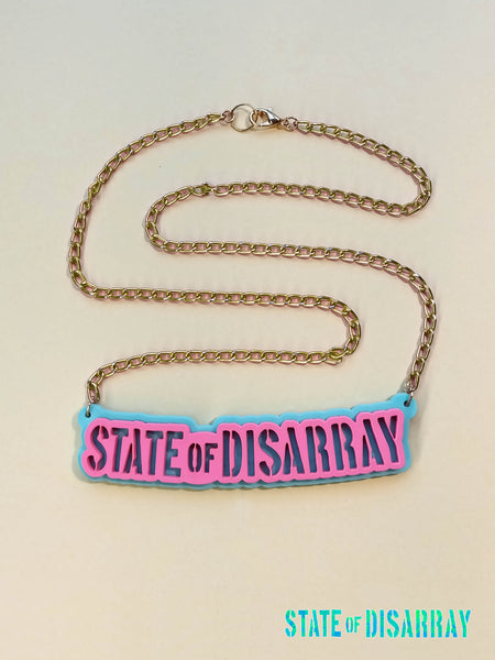 State of Disarray - Acrylic Necklace - Peppermint & Rasberry - Midi Chain