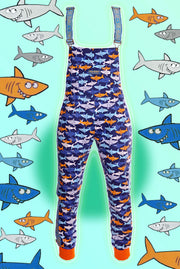 Colourful cotton Shark print dungarees by State Of Disarray