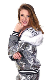 Silver sequin hooded disco jacket with faux fur hood