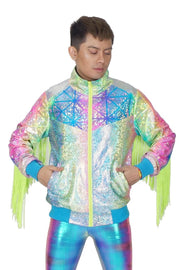 Rainbow Geo-messtrick  - Fringe Jacket