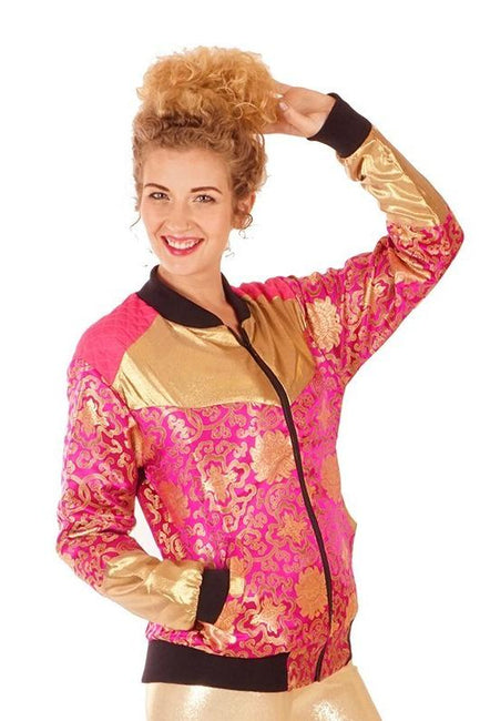 XMAS OFFER! 25% off Reduced From £85.00 - Kimono Bomber Jacket - Lotus - Pink & Gold - Unisex