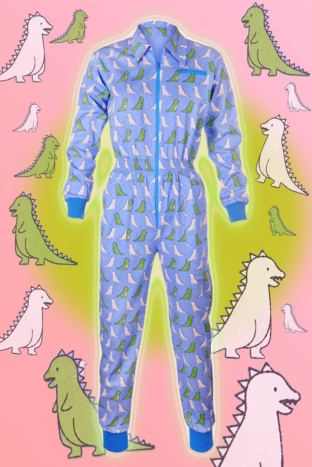 Draw Me A Dino - Blue - Banging Boilersuit - Cinched