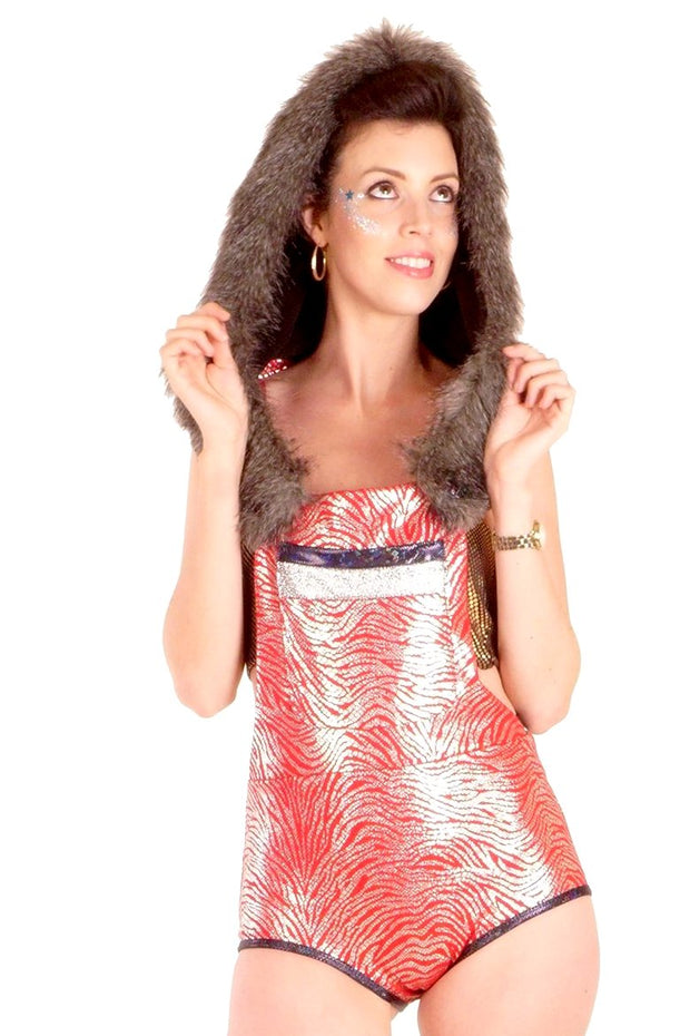 SALE! 20% Off Reduced from £80.00 - Leotard Disco Dungarees - Metallic Silver & Red