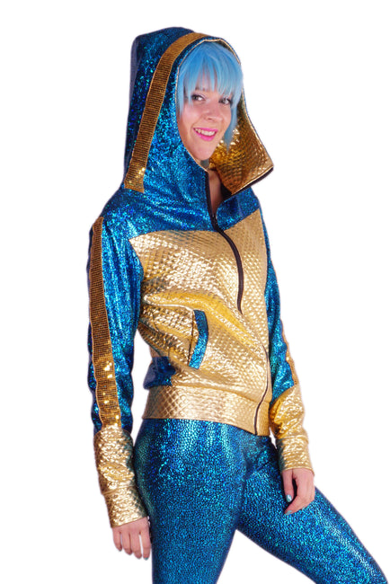 Turquoise & Gold - Retro Space Jacket - Unisex