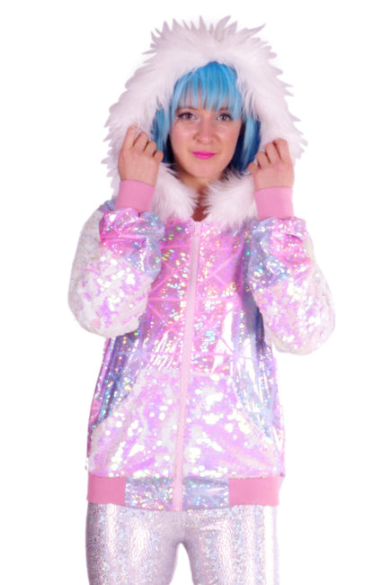 Unicorn Planet - WHITE FAUX FUR - Sequin Hoody