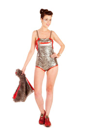 SALE! 20% Off Reduced from £80.00 - Leotard Disco Dungarees - Metallic Silver & Black