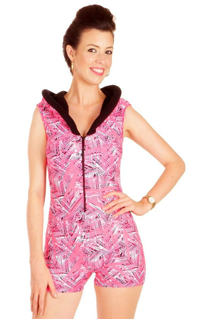 Hooded Jumpsuit - Flashback - Neon Pink