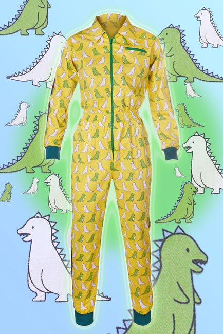 Draw me a Dino - Yellow - Banging Boilersuit - Cinched