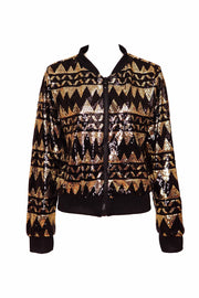 Black and gold cropped sequin bomber jacket. Mens / Womans sparkly sequin top by State of Disarray.  Ethical UK fashion Brand