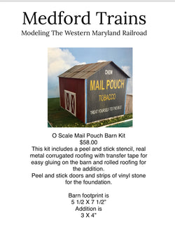 O Scale Mail Pouch Barn Kit